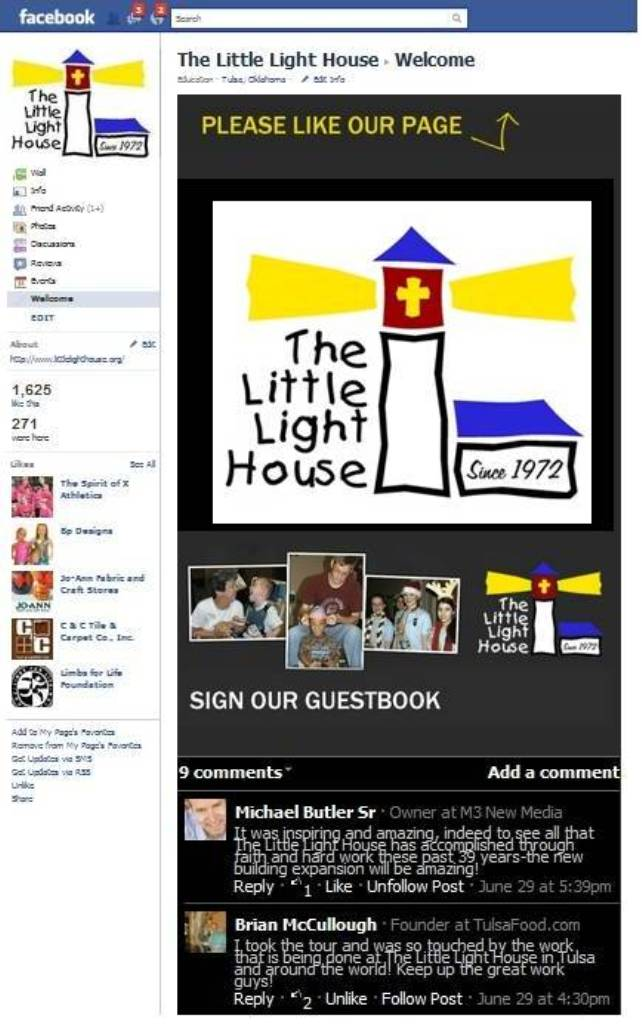 the-Little-Light-House-Tulsa-OK-Facebook Page-website-social-media-integration by M3 New Media